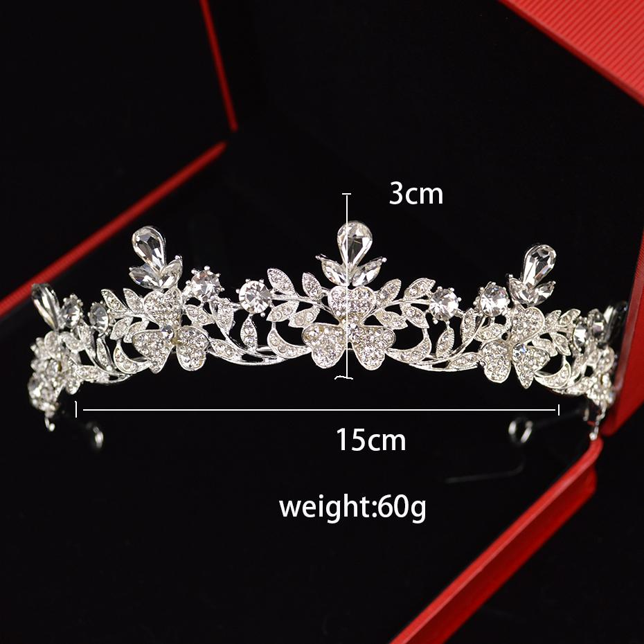 Nueva corona plateada barroca brillante cristal boda tocado novio de moda joyería de la joyería de cumpleaños accesorios para el cabello