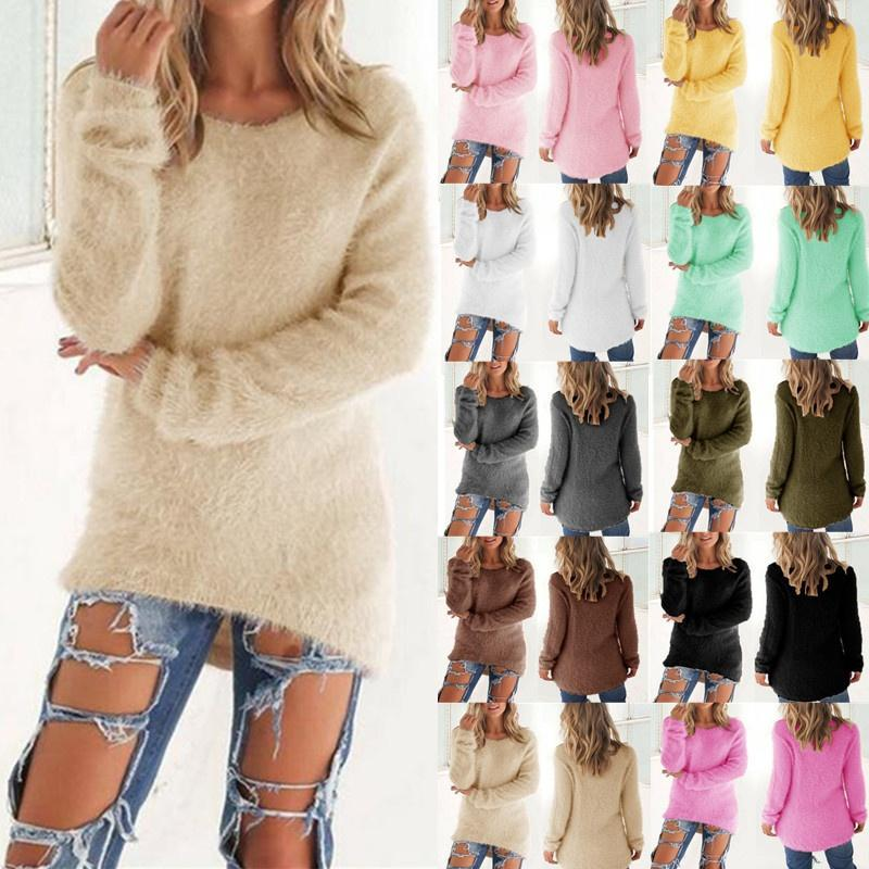 Moda Donna Casual Top Mohair Miscela Fuzzy camicetta del ponticello del pullover allentato maglione Maglieria