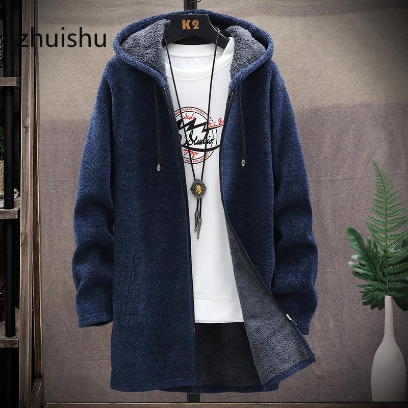 2020 Winter Fashion New Arrival Men's Sweaters Cardigan Men Knitted Thicken Mens Hooded Coat Male Slim Fit Knitting Sweater
