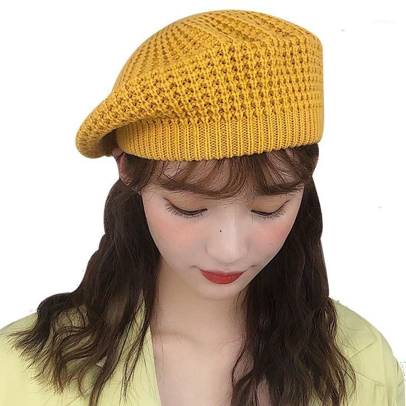 Jiangxihuitian بسيط المرأة طبقة مزدوجة قبعة الشتاء عارضة محبوك قبعة الصوف مع السيدات بلون فتاة هاتس 1