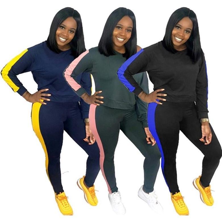 Lange Hülse der Frauen Outfits 2-teiliges Set Trainingshemd legging Jogging sportsuit Sportbekleidung Sweatshirt Strumpfhosen heiß klw5164