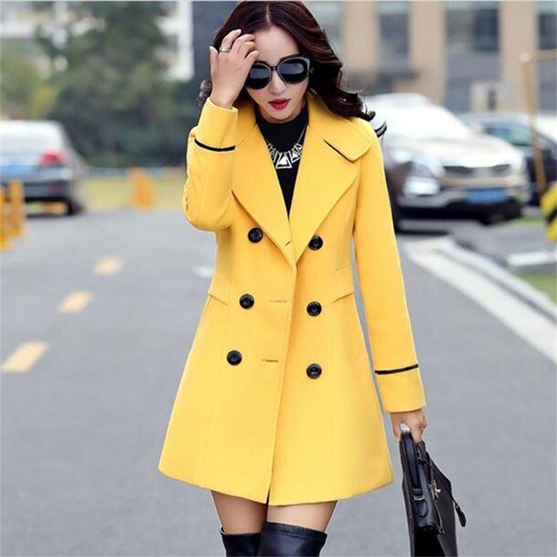 Otoño invierno moda mujer amarillo rojo naranja lana abrigo de lana doble pecho elegante bodycon lana largas chaquetas Manteau Rouge 201224