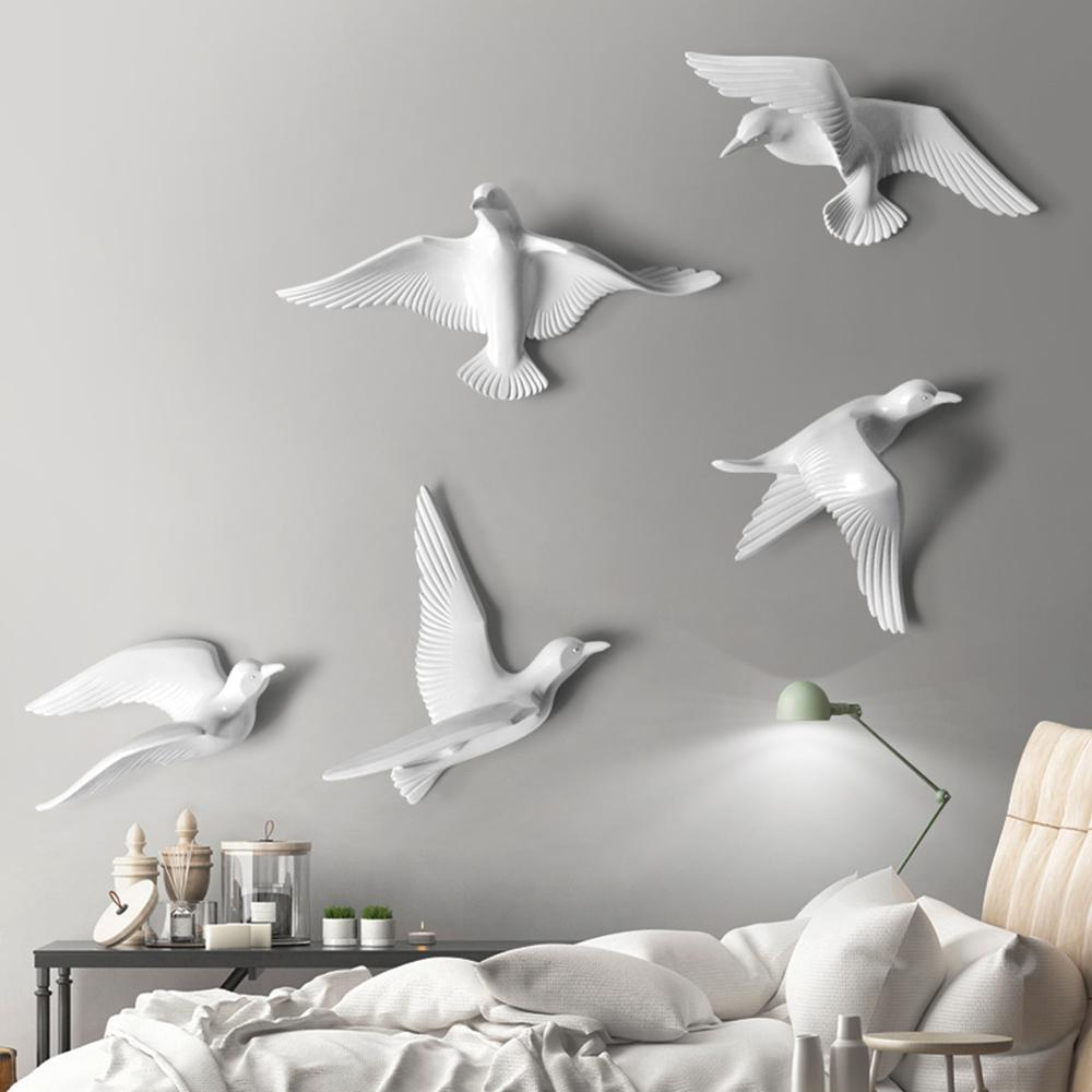 5PCS European Resin Birds Wall Hanging Pigeon Crafts Decoration Home Livingroom Sofa TV Background 3D Wall Sticker Ornament Art 1007
