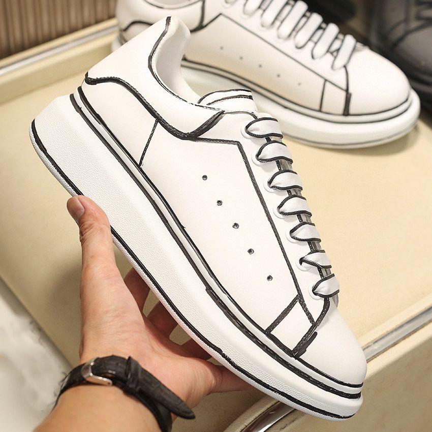 2021 Мужская Платформа Обувь Женская Уверенная Красная Черная Снестина Шаблон Топ Топ Кожаные Леди Модные Кроссовки Плоский Дизайнер Повседневная Обувь