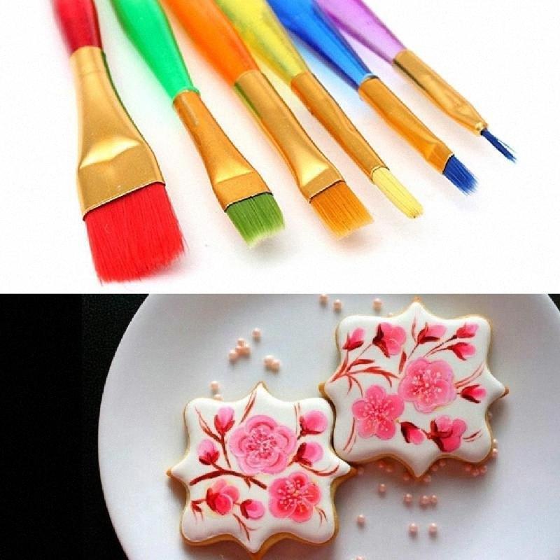 Vente chaude 6Pcs Fondant décoration de gâteau peinture sucre Pinceau bricolage Outil Fleur Modeling Cuisine Accessoires lxXA #
