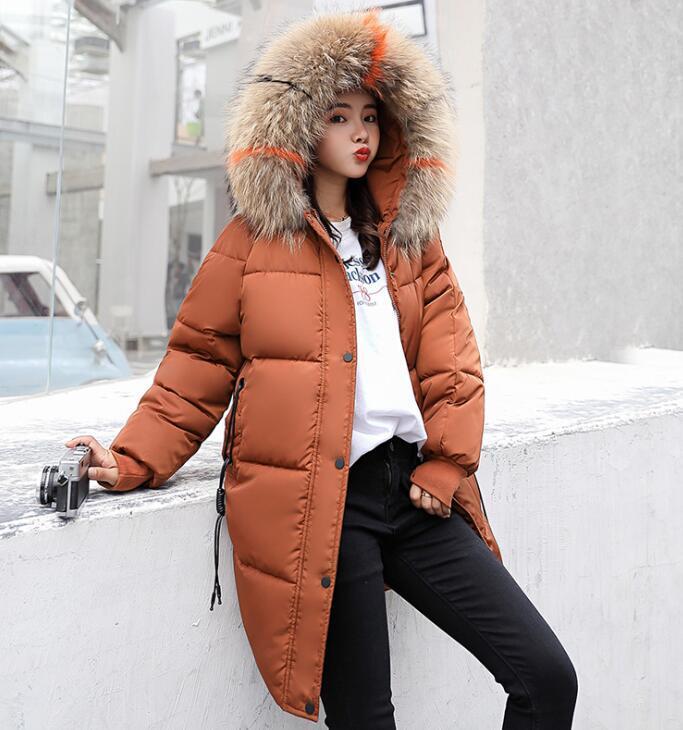 Плюс размер зима способа женщин меховой капюшон пальто хлопка с длинным пальто ватные куртки Puffer Женщины Теплый Parka Feminina Верхняя одежда ветровки Snow Wear Uk