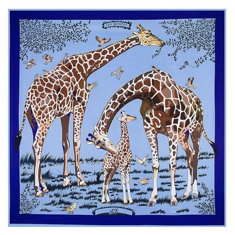 Seide Nackenschal Frauen Tier Druck Schal Mode Giraffe Muster Foulard Femme Echarpe Große Twillschals Großhandel Dropshipping 130