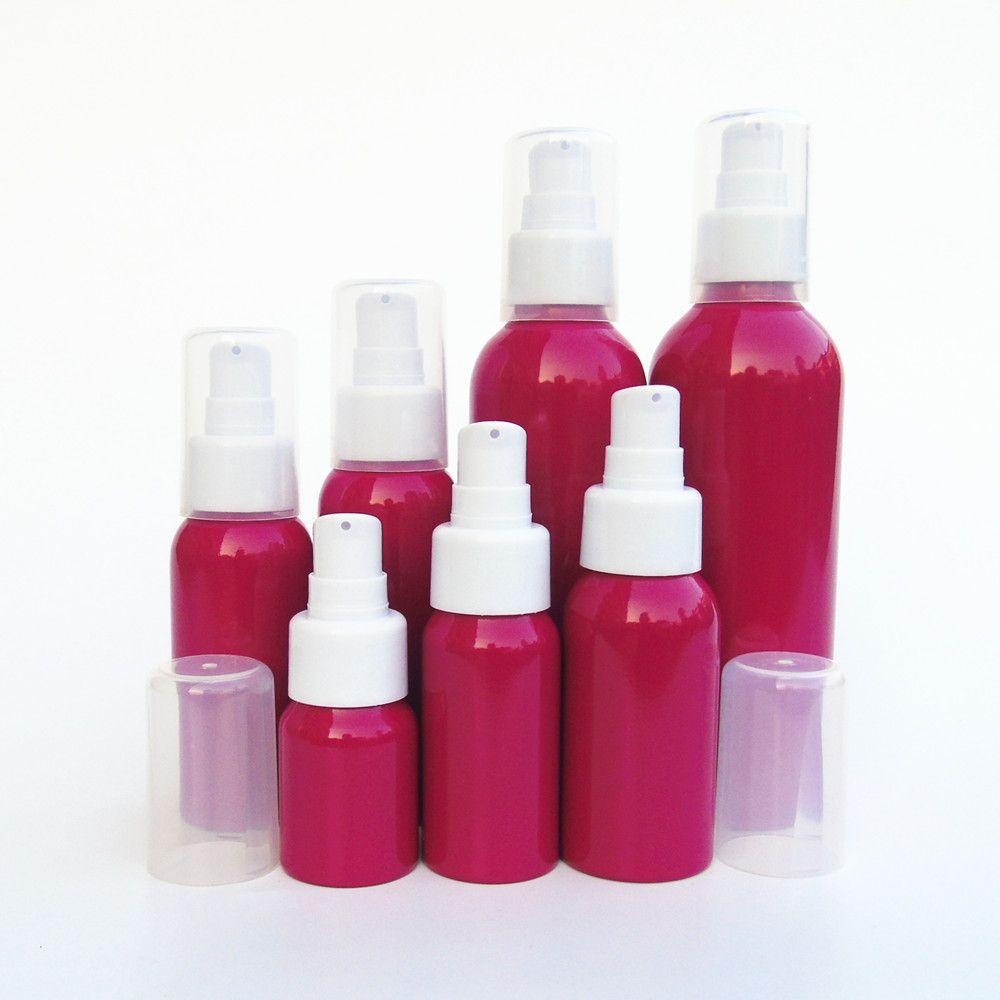 1-2pcs 30-500ml rojo de la rosa de aluminio botella de la loción Beak cabeza tarro cosmético del recorrido subpaquete Muestra bomba de emulsión vacía