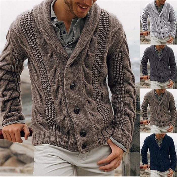Mens Cardigan Sweaters Long Sleeve Lapel Neck Winter Male Knits Clothing Casual Fashion Men Sweater Coats