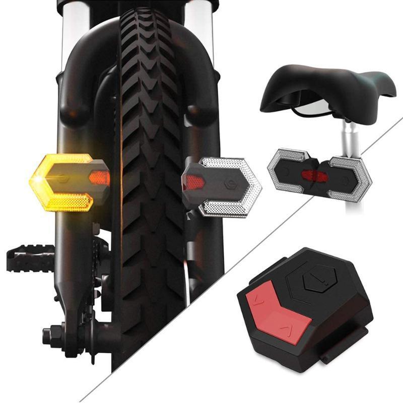 Le luci della coda della bici girano il segnale LED lampada anteriore posteriore per la sicurezza della bicicletta Avviso wireless USB ricaricabile ricaricabile per biciclette a distanza