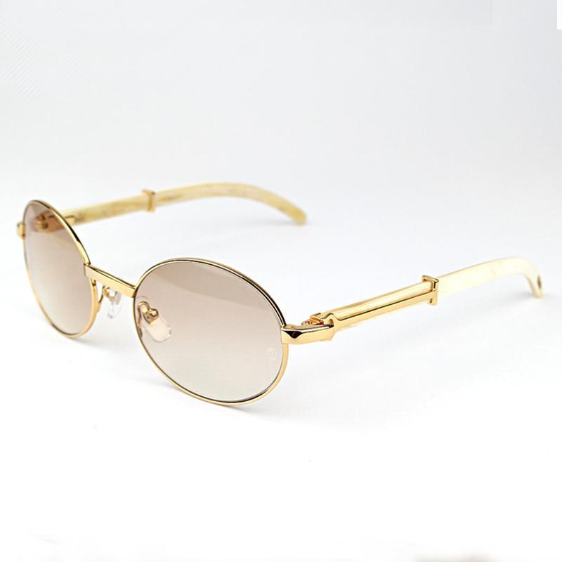VIP Ovale Buffalo Horn Métal Carter Mens Sunglasses Marque Designer En Bois Sun Verre Femmes Cadre en bois Cadre Verres Shapes