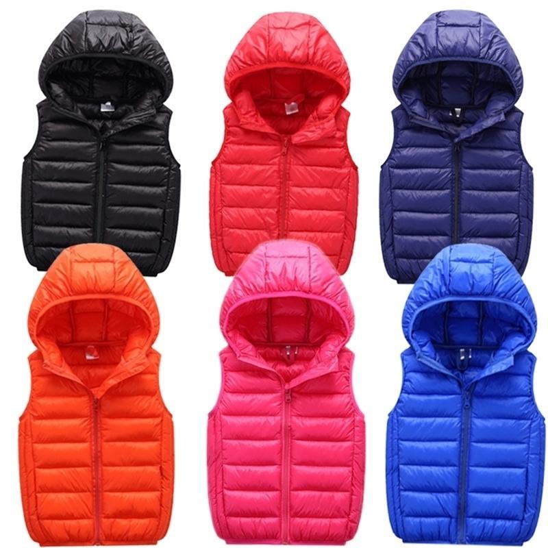 Crianças crianças primavera outono adolescente menina meninos colete jaquetas meninas inverno colete para menino roupas infantis y200901