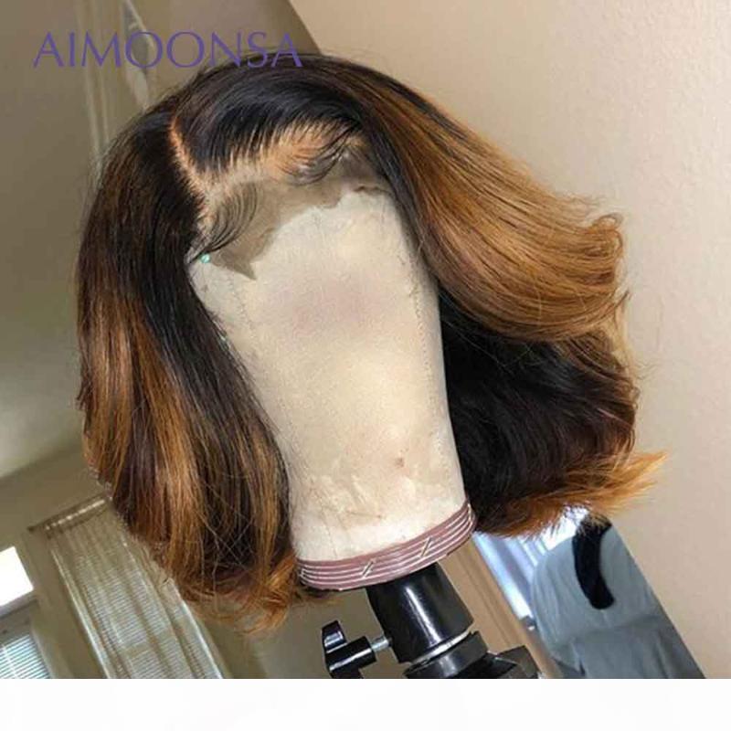 Peluca delantera de encaje marrón de miel 13x6 ondulado bob wavy peluca de pelo humano 1b 27 coloreado Bob encaje frente Pelucas de cabello humano Pelucas Preparada Remy 130%