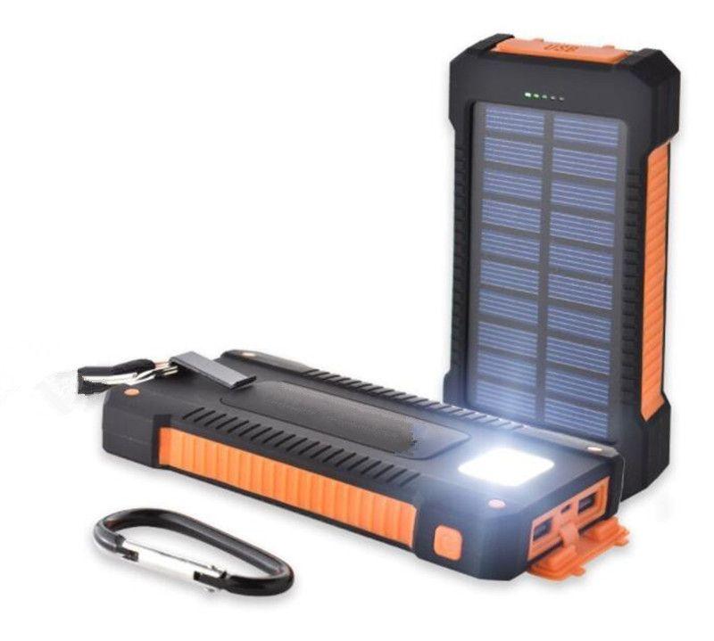 Chargeur de banque de puissance solaire 20000mAh avec lampe de poche de lampe de poche à LED double tête Panneau de batterie imperméable à chargement extérieur téléphone portable