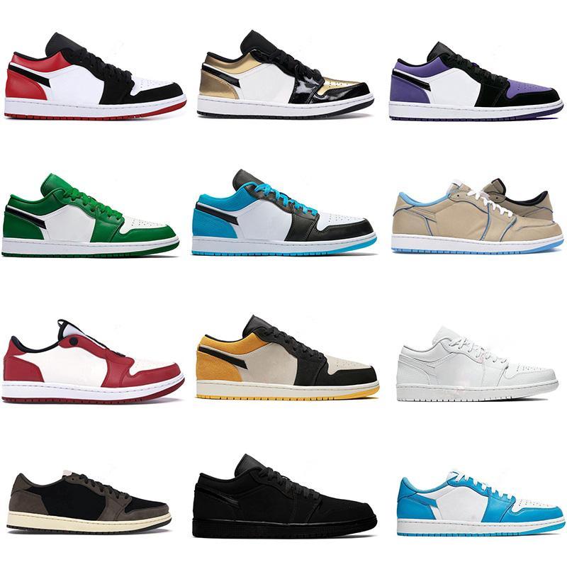2021 Jumpman Jordan 1 Low basketball shoes top OG black toe court purple SP Travis Scotts men women sneakers Eur 36-46 without box