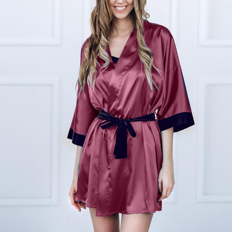 Sexy di seta delle donne raso kimono in pizzo accappatoio della biancheria da notte Sleepwear Pajamas Robe Babydoll Gown Accappatoio Kimono J60