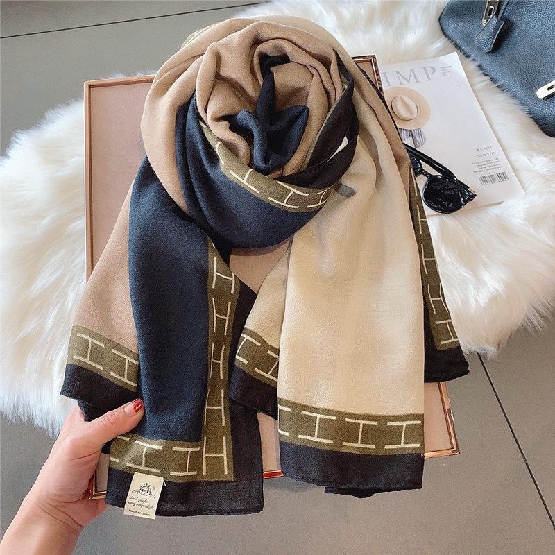 lençóis de algodão branco para as mulheres primavera e outono com decorativos lenços de correspondência de cores no inverno xales longo quentes