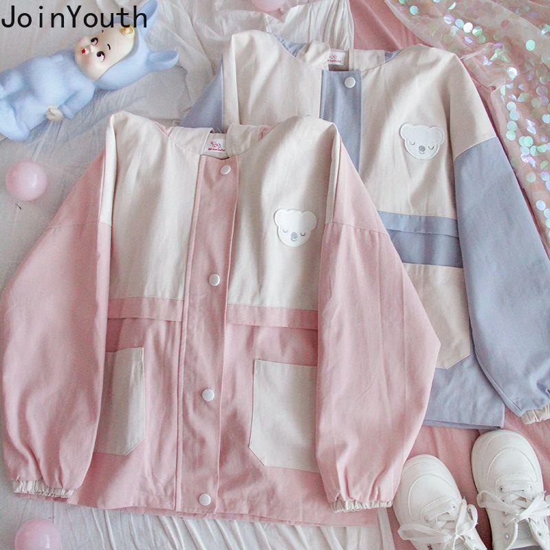Joinyouth mujer chaquetas invierno rompevientos chaqueta para mujer otoño casual remiendo cremallera capucha con capucha chaqueta suelta linda coat 7b200 201028
