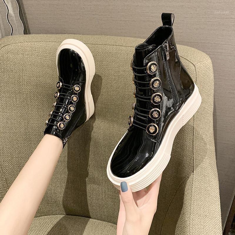Çizmeler Bayanlar Kaya Ayakkabı Lüks Tasarımcı Yuvarlak Ayak Düz Yüksek Topuk Ayak Bileği Kauçuk Fashion1