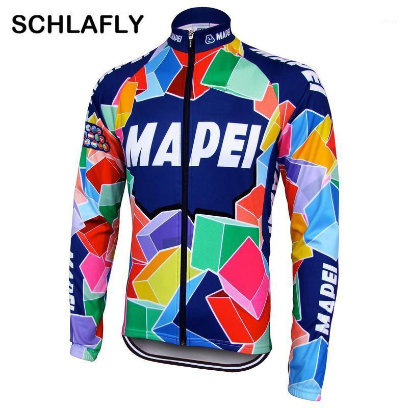 2020 uomini in bicicletta jersery manica lunga retrò bici inverno in pile in pile senza pile abbigliamento bicicletta colorante schlafly autunno1
