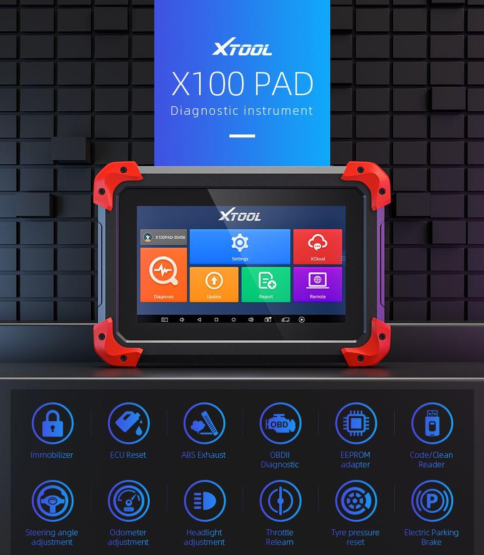 Xtool 원래 x100 패드 자동 키 프로그래머 오일 휴식 도구 주행 거리계 조정 무료 업데이트 온라인 X100PAD 기능으로 x300 프로