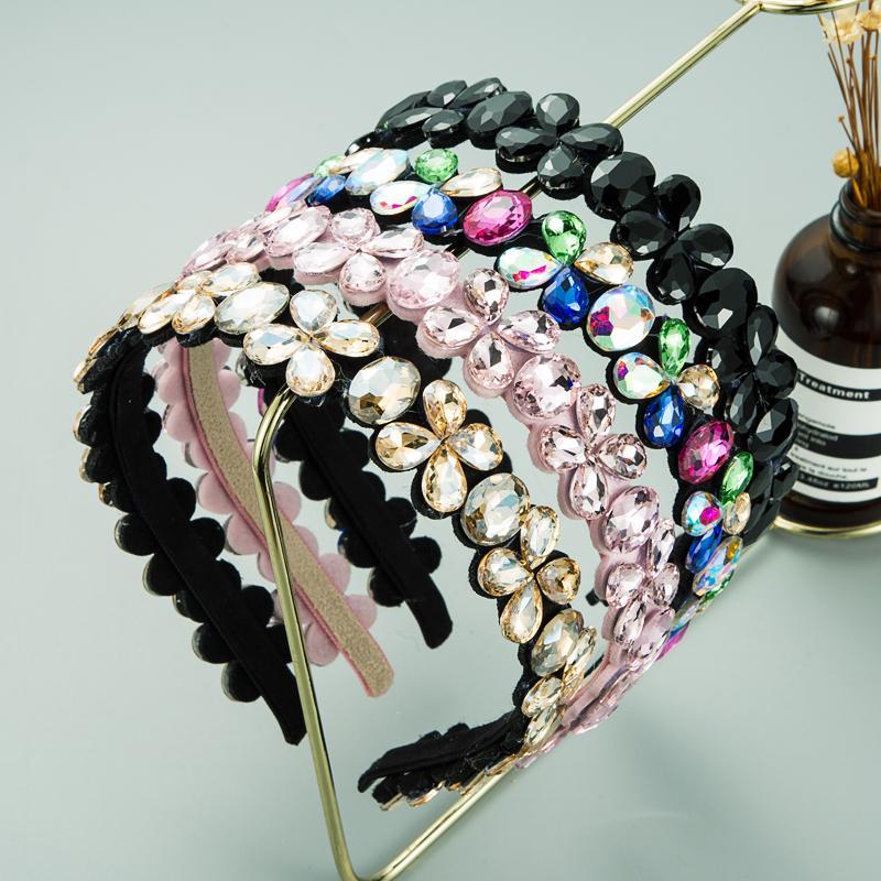 Vintage Multi Color Crystal Flower Designer Bandeau de la bande de Verre géométrique ethnique Perceuse à cheveux de poils Floraux Girls Girls Accessoires pour cheveux