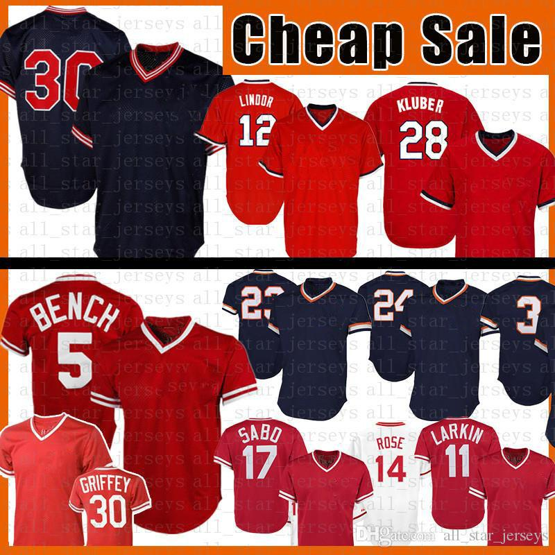 30 Johnny Bench Baseball Jersey Barry Larkin Sabo Ken Griffey Jr Francisco Lindor Kluber Joe Carter Kirk Gibson Miguel Cabrera Alan Trammell