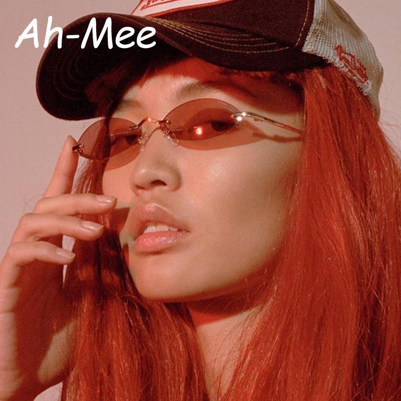 Sonnenbrille Weibliche Kleine Männer Frauen Designer Metallrahmen Gläser Vintage Marke UV400 Winzige runde Oval Tönungen Sun Randlose Retro XCCDF
