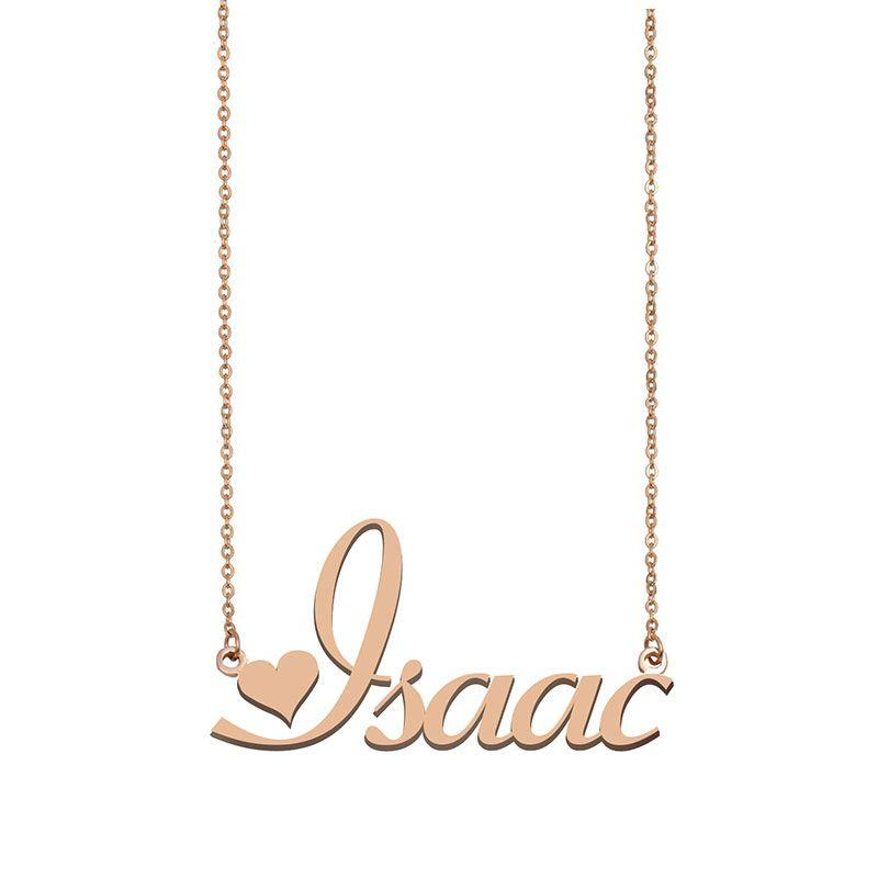 Isaac Namensketten Anhänger Gewohnheit personifizierte für Frauen Mädchen Kinder beste Freunde Mütter Geschenke 18k vergoldet Edelstahl