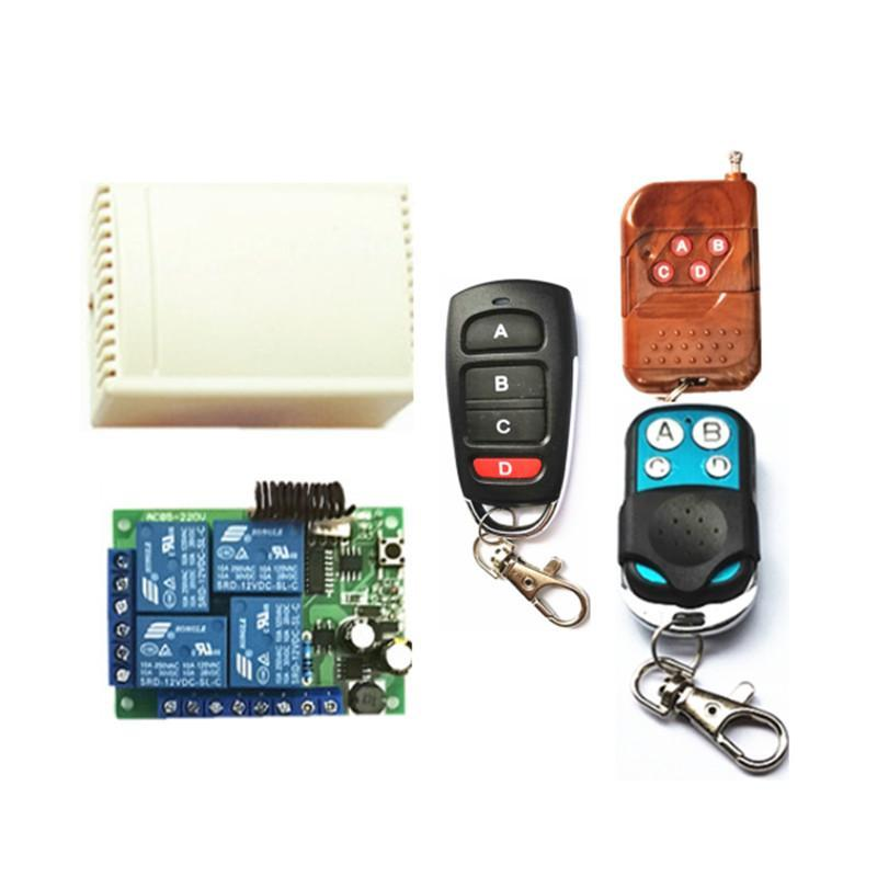 433Mhz universal wireless remote control switch AC220V 4-channel relay receiving module and 4-channel multi-model RF remote cont