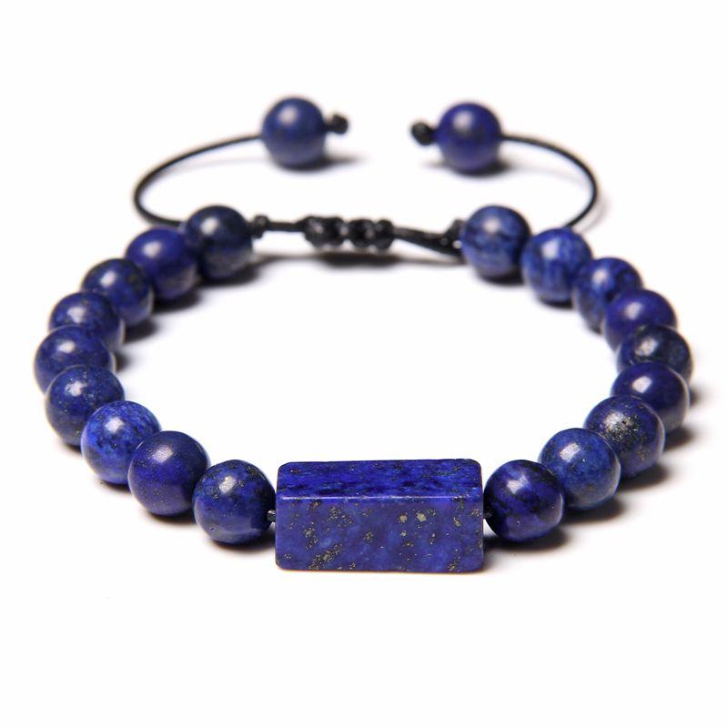 Handgemachte Braid Armbänder Männer natürliche Lapislazuli-Stein-Korn-Armband für Frauen Minimalism Adjustable gewebte Seil Armband Schmuck