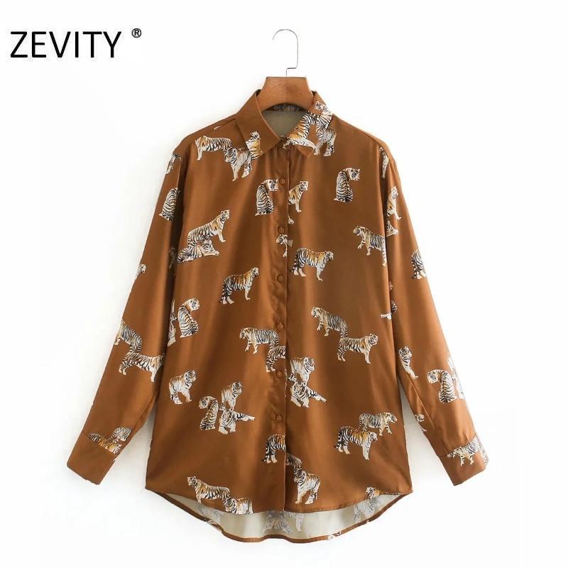 Zevity Yeni kadın moda hayvan baskı iş önlük bluz gömlek kadınlar uzun rahat blusas manşonlu şık marka kombinezon başında LS7134 A1111 A1111