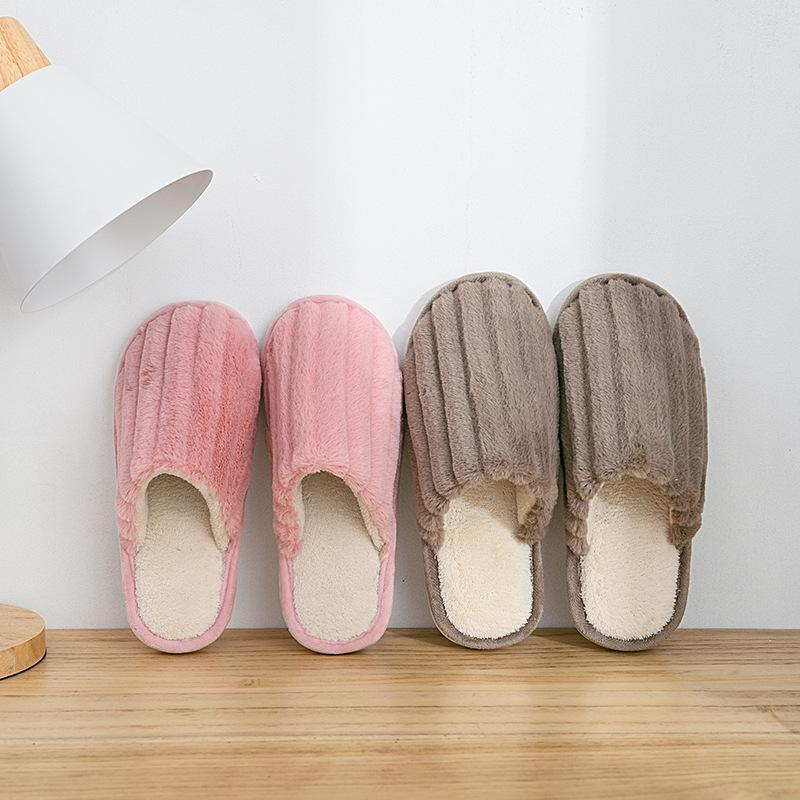 Confortevole tessuto di cotone pantofole donne breve peluche inverno Shallow scarpe pantofola Large Size casa caldo velluto