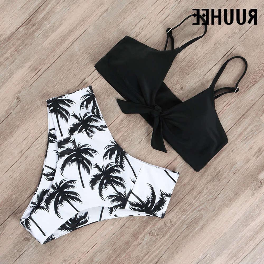 Ruuhee Swimwear Costume da bagno 2021 Set bikini in vita alta Push up anteriore nodo costume da bagno donna estate spiaggia indossare biquini