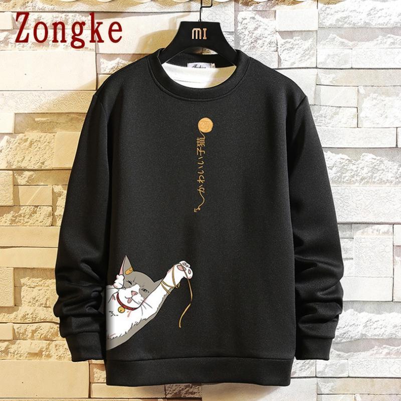 الرجال هوديس بلوزات Zongke 2021 الخريف القط طباعة الهيب هوب البلوز الرجال اليابانية الشارع الشهير الأزياء للملابس