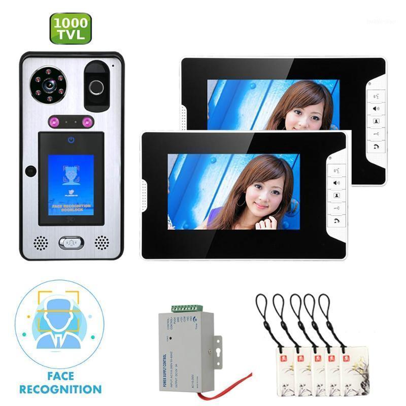 Téléphones de porte vidéo Gamwter 7 pouces Système d'interphone de sonnette de téléphone de moniteur avec reconnaissance faciale empreinte digitale Ric filaire 1000TVL caméra1