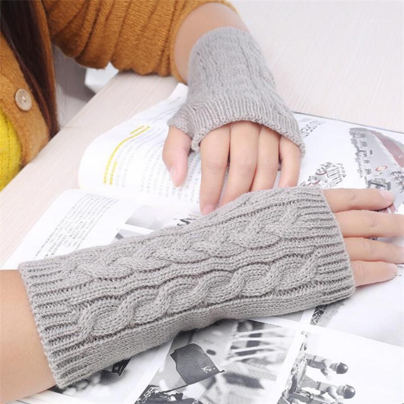 Beş Parmak Eldiven 2021 Kış Örgü Kadın Dokunmatik Ekran Eldiven Kadın Uzun Parmak Mittens Thumbhole Bilek Moda Sıcak Kayak Gloves1