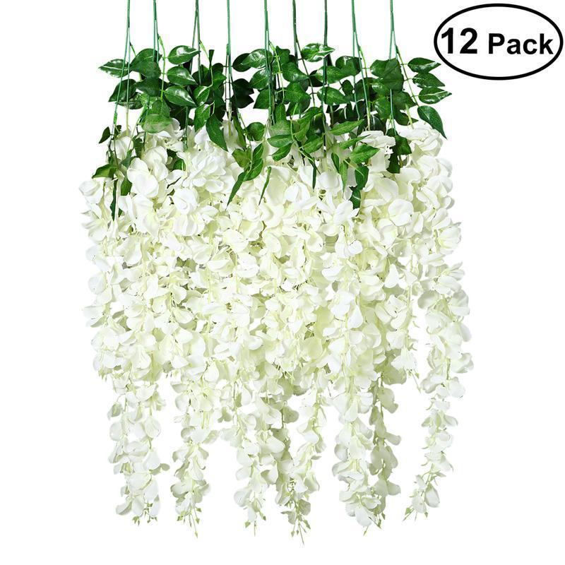 12 Pcs Artificial Silk Wisteria Ivy Vine Leaf Green Vine Garland Simulação Props 90CM para Wedding Party Decoration 1022
