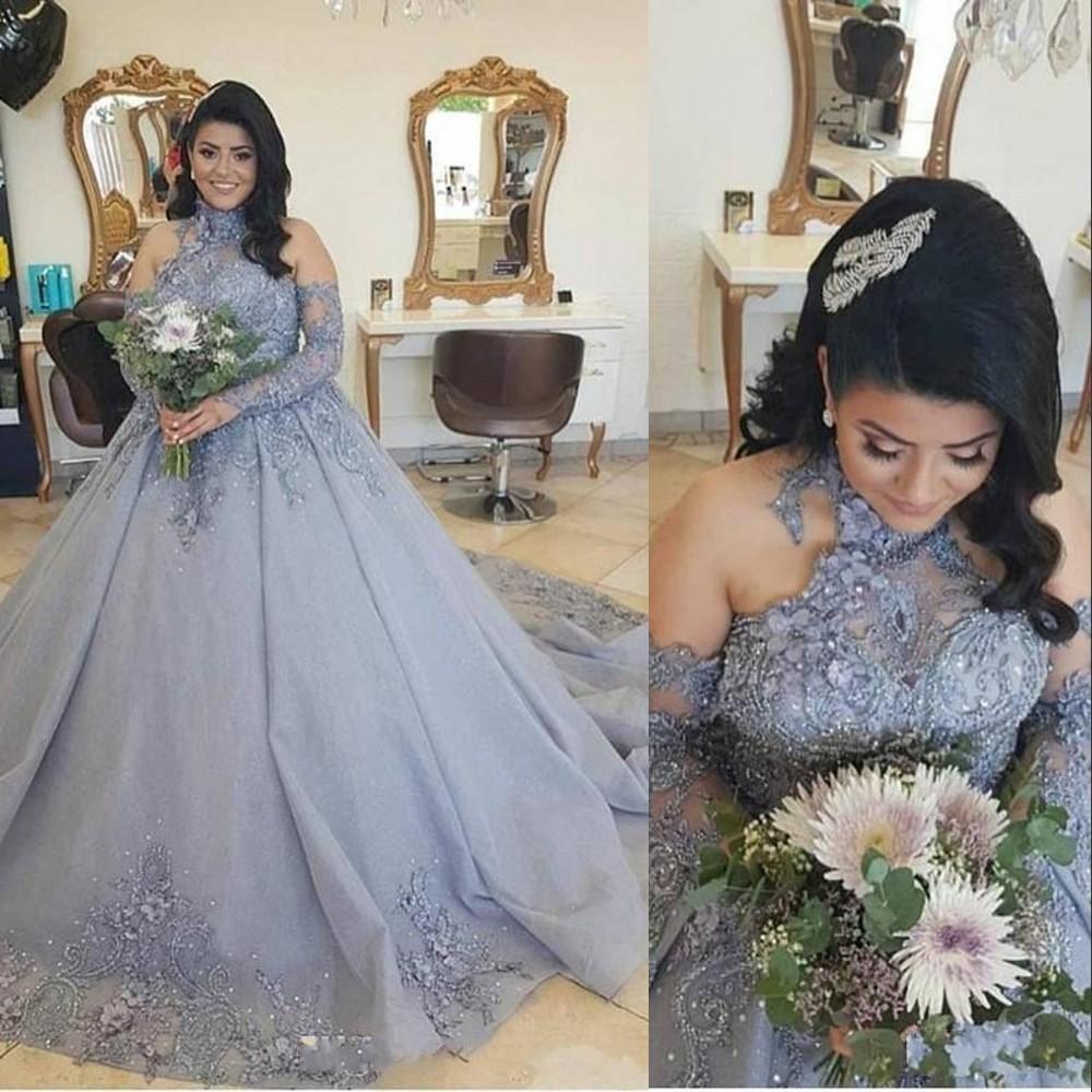 2021 Vintage Quinceanera robe de bal Halter gris argent dentelle perles fleurs manches longues Plus Size Party Formal Prom Robes de soirée