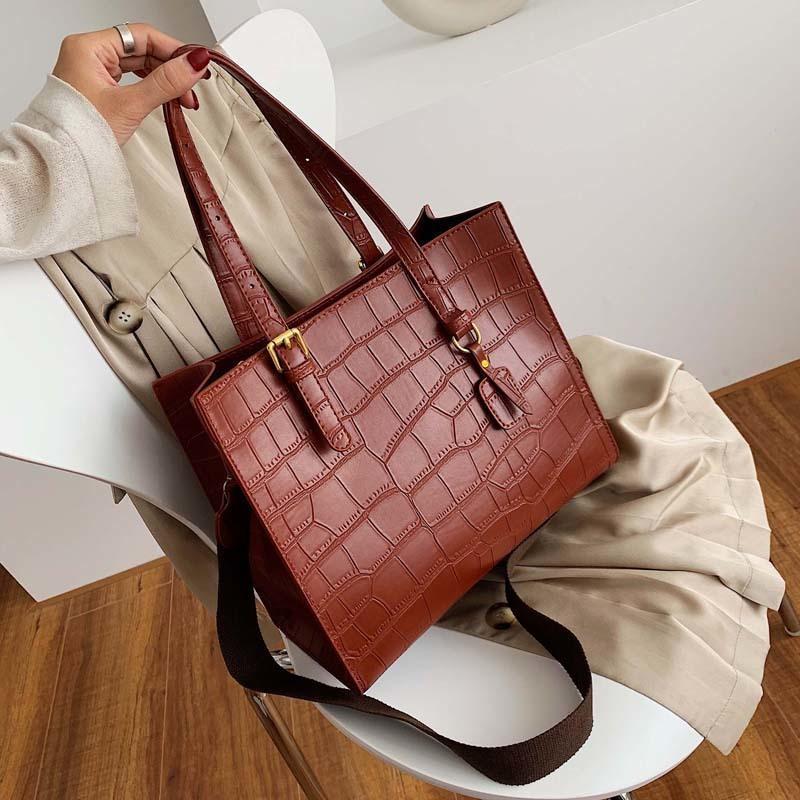 2020 kış çanta Taş Desen Omuz Çantası Kadınlar PU Deri Lüks Çanta Kadınlar Çanta Sac A Ana Femme Seyahat çantaları