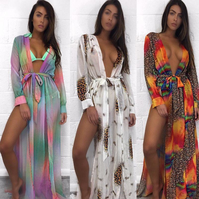 Mujeres Sexy Profundo V Bikini Set Cover Ups Vestido de verano Traje de baño Traje de baño Gradiente Leopardo Traje de baño Cubre UPS Vestidos de cinturón dividido