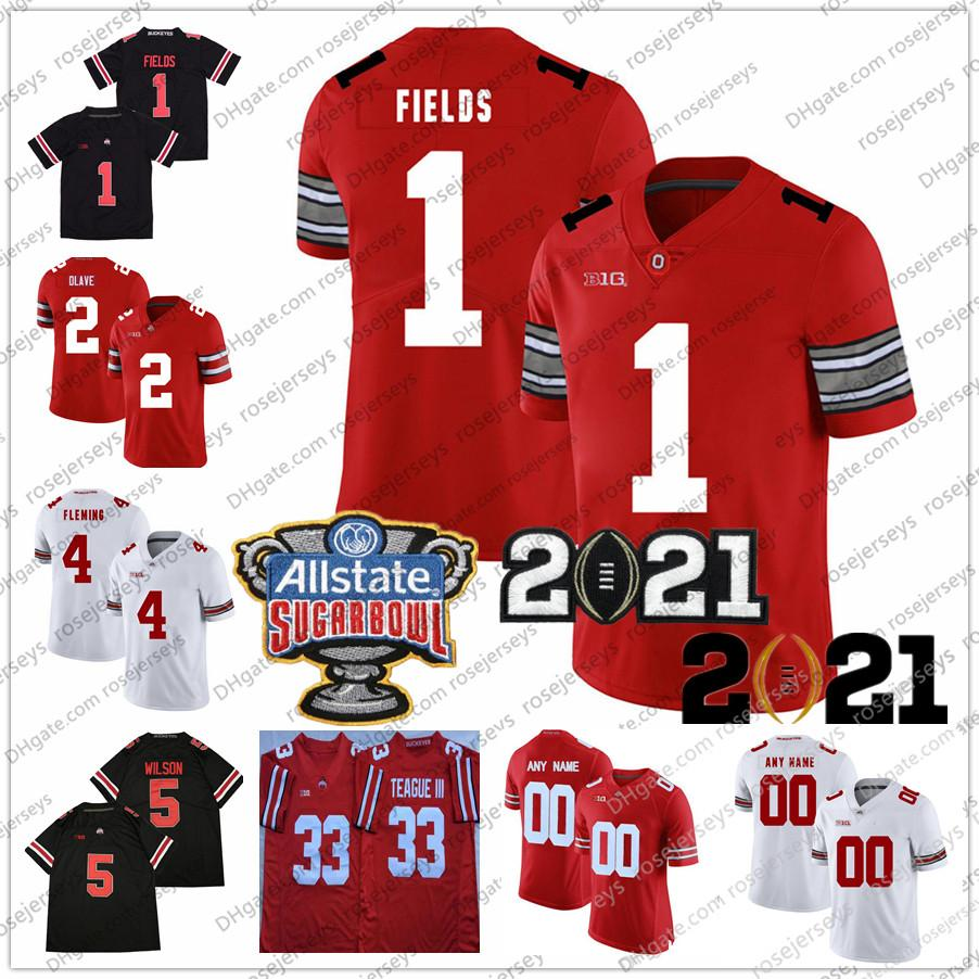 사용자 정의 2021 오하이오 주 PUCKEYES 8 Trey Sonmon Justin Fields 4 줄리안 Fleming 11 Jaxon Smith-Njigba 2 Chase Young Dobbins Sugar Bowl Jersey