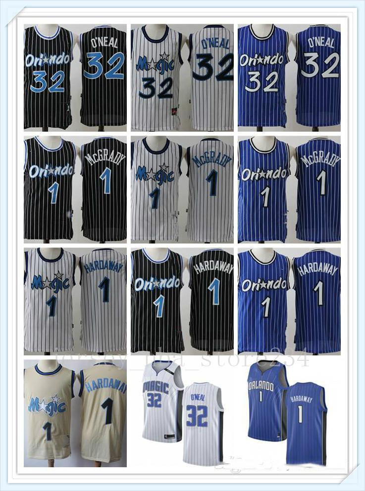 NCAA Mens OrlandoМагия2020.Shaquille 32 O Neal Penny 1 Твердно Трейси 1 McGrady Rembeback Баскетбол Майки Белый синий