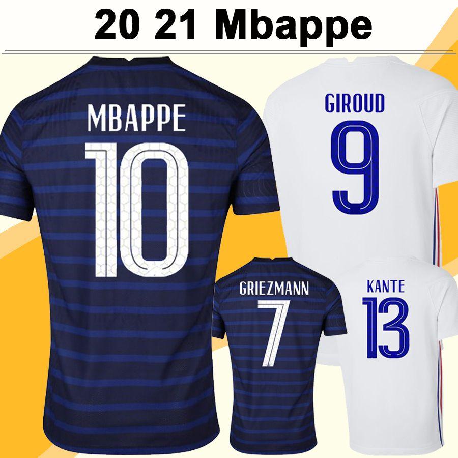 2021 MBappe Griezmann Benzema Mens Futebol Jerseys Pogba Giroud Dembele Kante Pavard Home Away Camisa de Futebol de Futebol Uniformes de Manga Curta