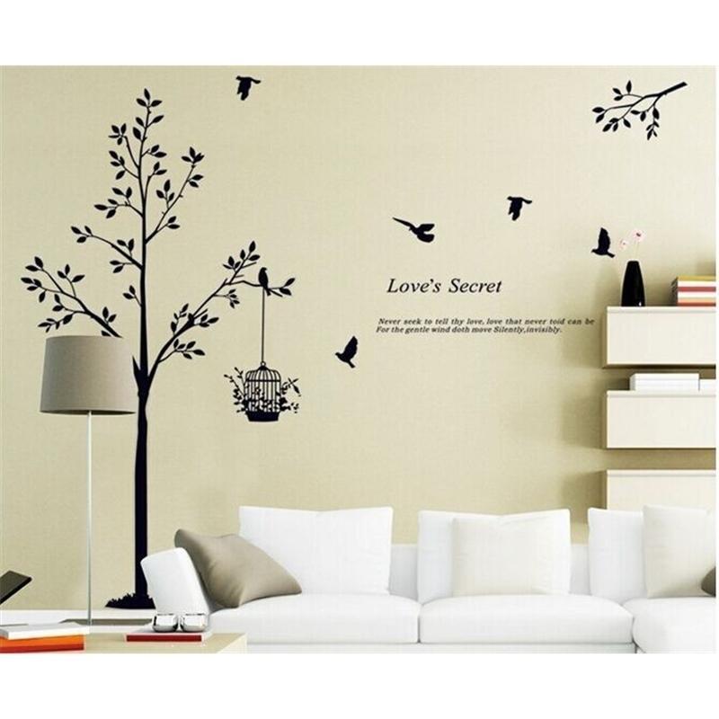 165 * 150 см (65 * 59 дюймов) Черное дерево птица клетка виниловые наклейки для гостиной / спальни стены наклейки дома украшения дома 20110