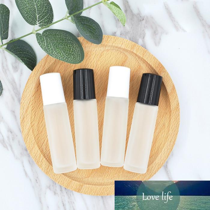30 adet 10 ml Buzlu Cam Kozmetik Şişe Taşınabilir Boş Rulo-On Şişeler Uçucu Yağ Parfüm Konteyner Çelik / Cam Rulo Topu