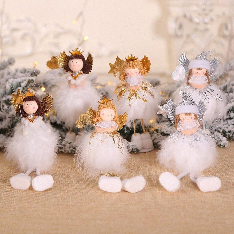 Cartoon Noël étincelant coeur étoile ange fille poupée Toy décoration Nouvel An Party Décor de table Arbre de Noël Pendentifs ornements Big Chri WVYf #