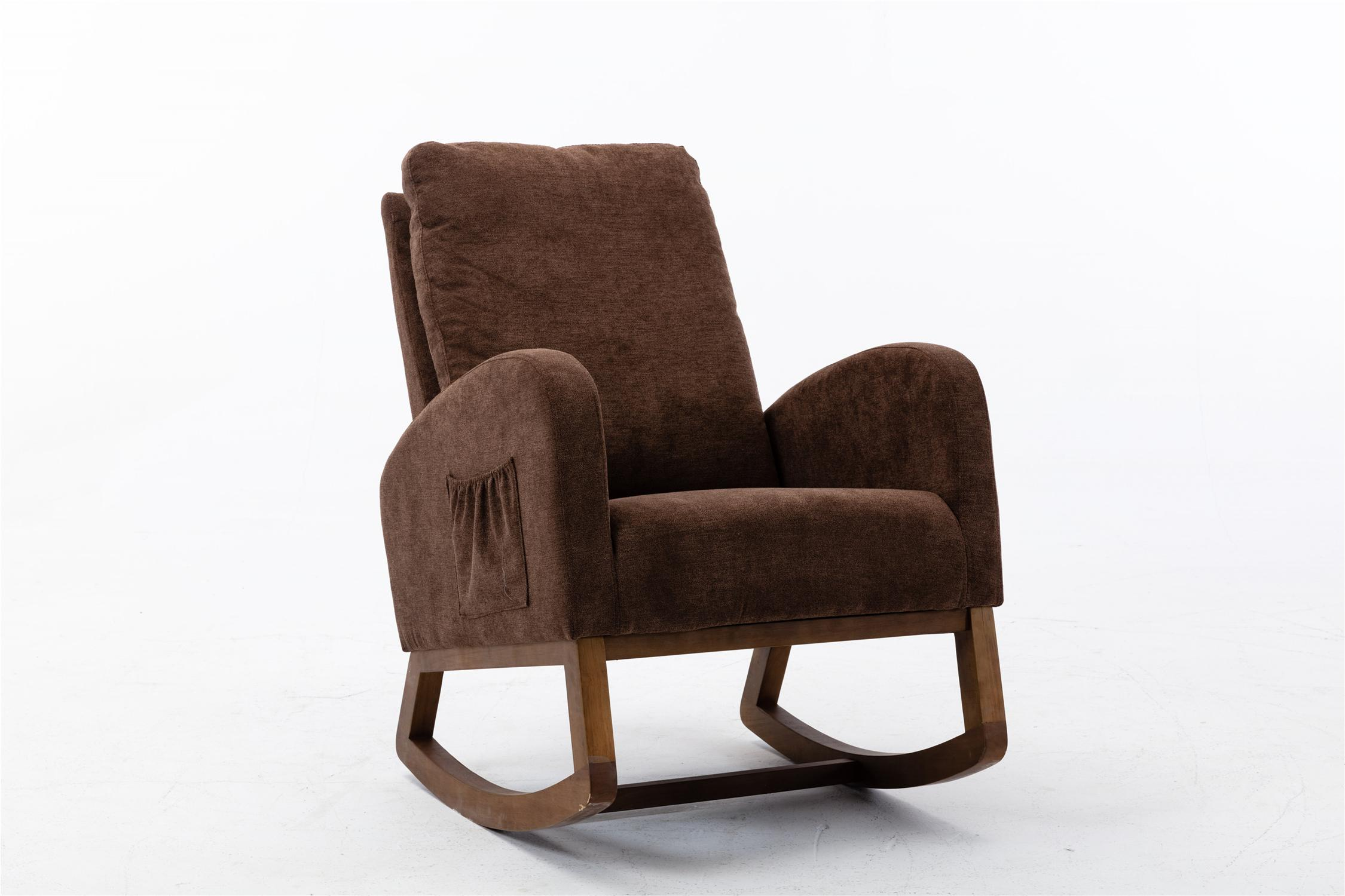 USA form Ship Rocking Chair Mid-Century Modern Nursery Rocking Armchair Upholstered Tall Back Accent Glider Rocker for Living Room (Brown)