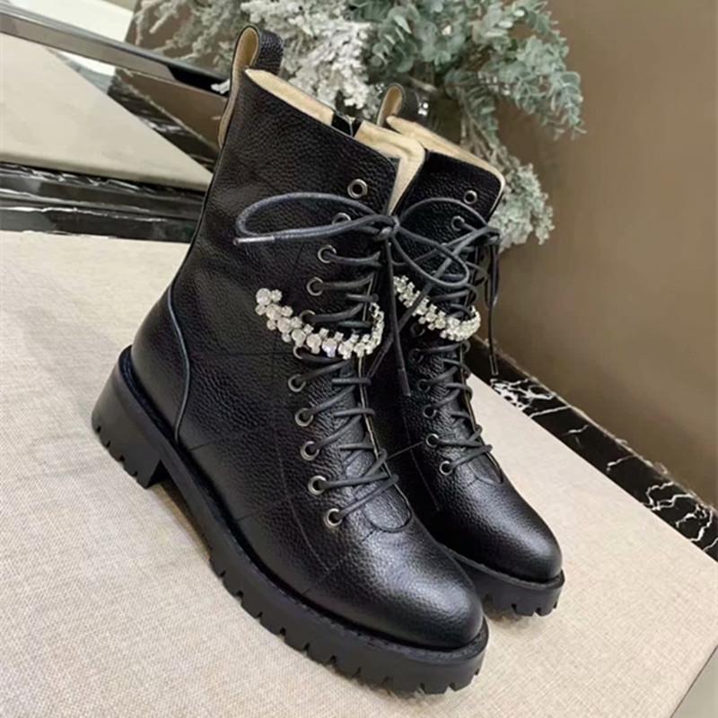 Сапоги Женщины Zapatos De Mujer Круглый Toe Женская обувь Узелок Botas Mujer Низкие каблуки Зимние кожаные ботинки Rhinestone