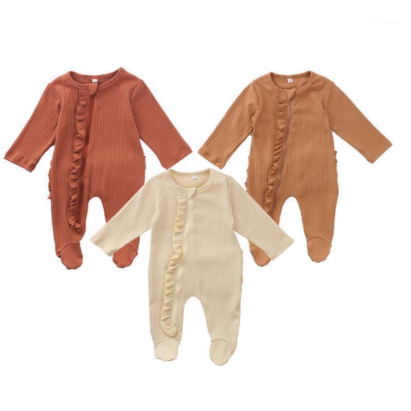 Manica lunga neonato roma Pagliaccetti Pigiama Pigiama Pigiama carino cotone solido casual tunto tuta ruffle bambino bambino infantile nightclothes1